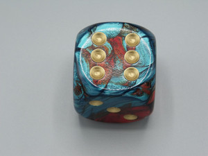 50mm Dice Gemini Red-Teal with Gold Pips