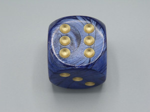 50mm Dice Scarab Royal Blue with Gold Pips