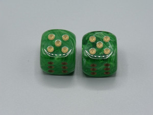 20mm Dice Vortex Green with Gold pips d6 - pair of 2