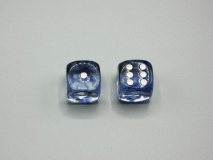 20mm Dice Nebula Black with White pips d6 - pair of 2