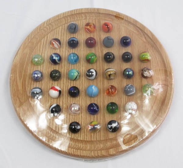Round Marble Solitaire - Oak
