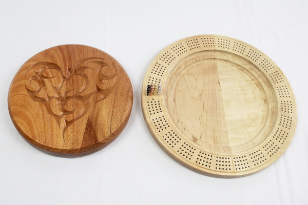 Four Player Cribbage Board Tribal Heart Mahogany and Curly Maple