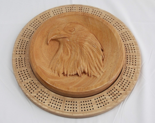 Four Player Cribbage Board Eagle Head Mahogany and Curly Maple