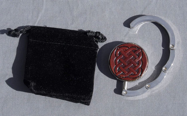 Collapsible Purse Hook - Celtic knot 10 dark