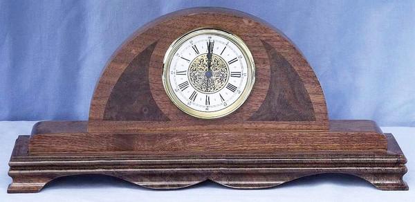Walnut Mantel Clock with Walnut Burl Cheeks