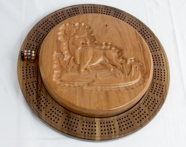 Four Player Cribbage Board Moose Cherry and Walnut