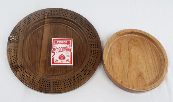 4 Player Cribbage Board Odin's Horn Cherry and Walnut