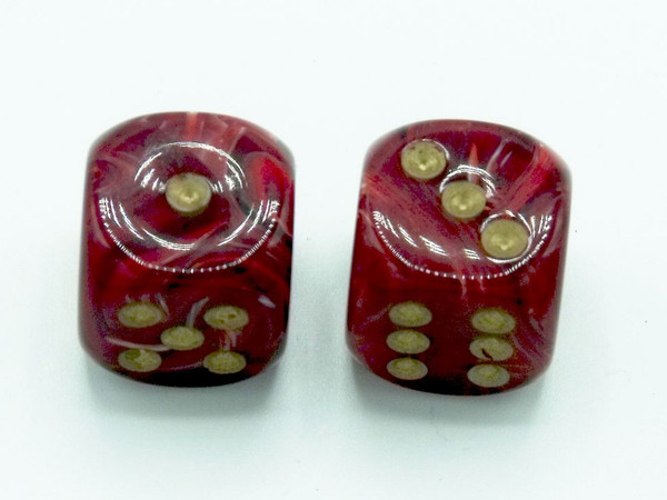 16mm d6 Vortex Burgundy Dice with Gold pips