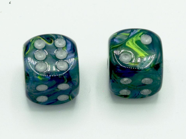 16mm d6 Festive Green Dice with Silver pips