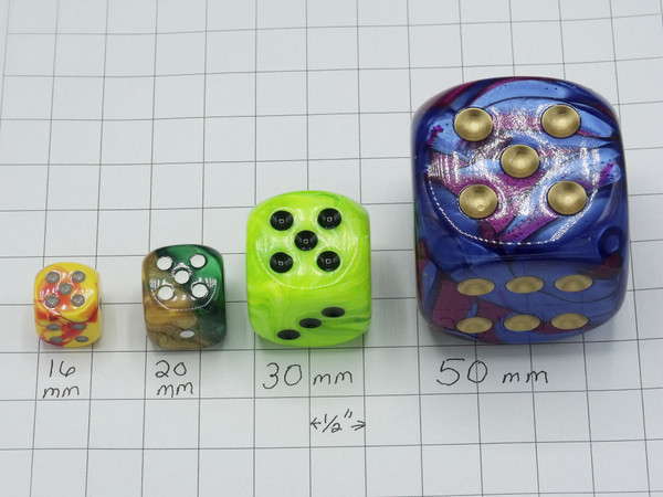 16 mm d6 Vortex Green Dice with gold pips.