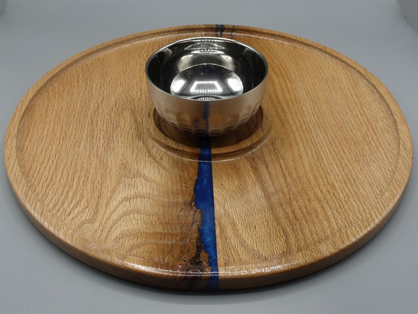 """16"""" Serving Tray with Stainless Steel Bowl #1 in oak with blue epoxy"""