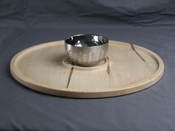 """16"""" Serving Tray with Stainless Steel Bowl #2"""