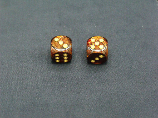 16mm d6 Scarab Blue Blood with Gold pips - pair of 2