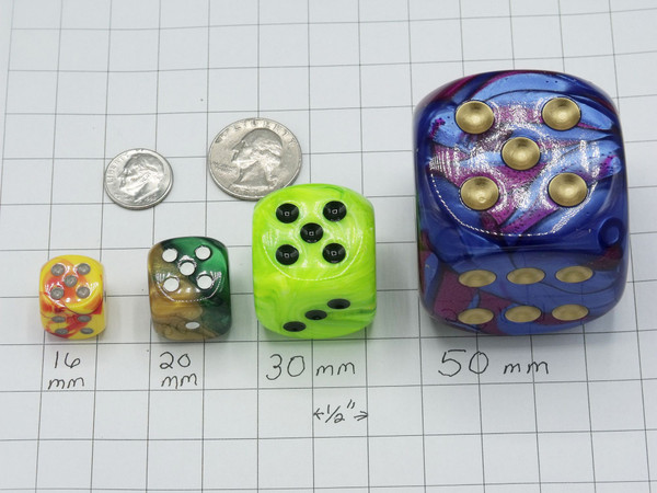 16mm dice Gemini Red-Yellow Silver d6 - pair of 2