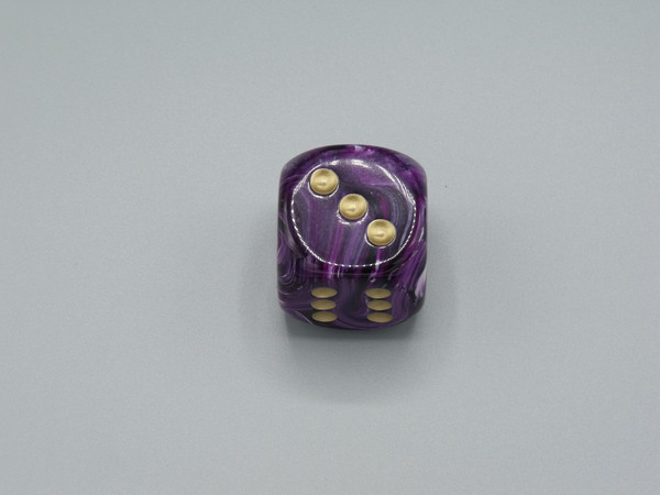 30mm Dice Vortex Purple with Gold Pips