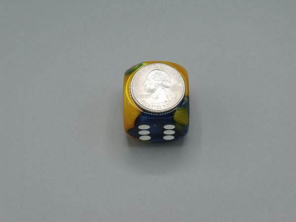 30mm Dice Gemini  Masquerade Yellow with White Pips