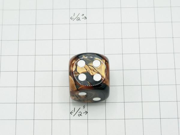 30mm Dice Gemini 30m Black-Copper with White Pips