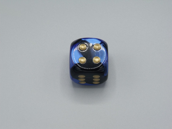 30mm Dice Gemini Black-Blue with Gold Pips