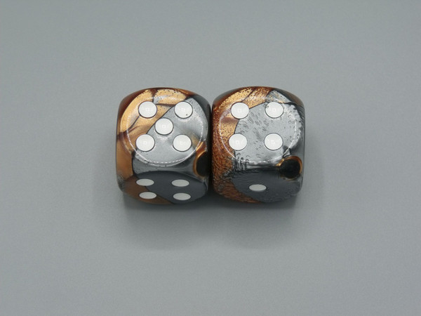 30mm Dice Gemini Copper-Steel with White Pips