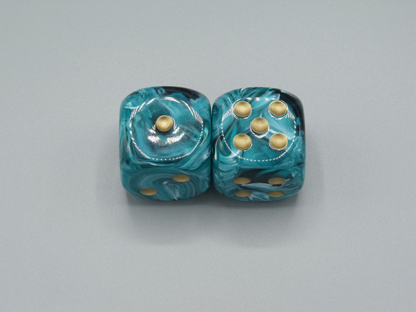30mm Vortex Teal Dice with Gold Pips