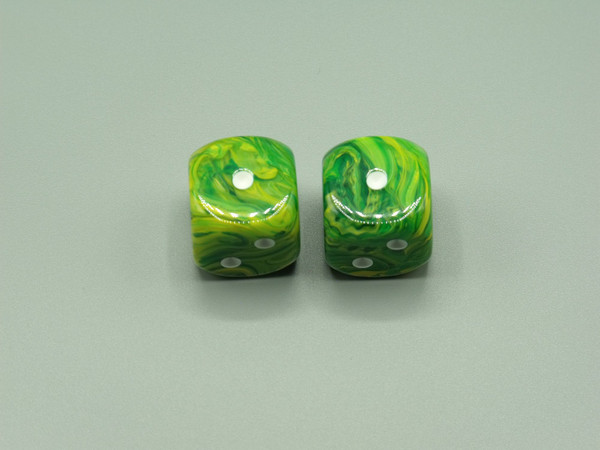 20mm Dice Vortex Dandelion with White pips d6 - pair of 2