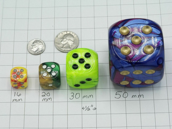 20mm Dice Vortex Blue with Gold pips d6 - pair of 2