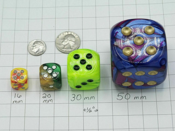 20mm Dice Vortex Burgundy with Gold pips d6 - pair of 2