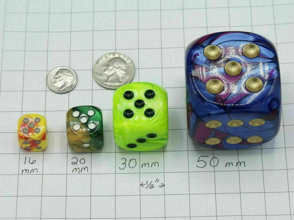 20mm Dice Vortex Black with yellow pips d6 - pair of 2