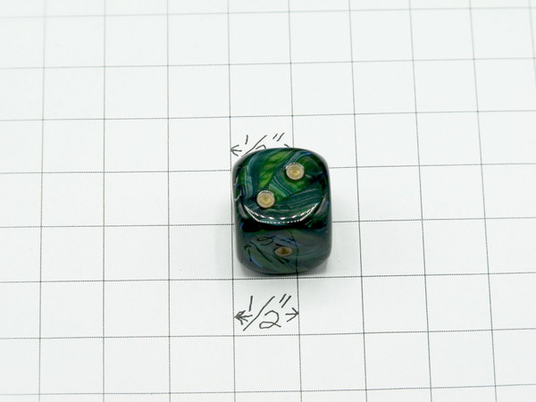 20mm Dice Scarab Jade with Gold pips d6 - pair of 2