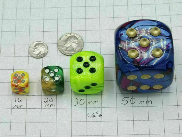 20mm Dice Scarab Royal Blue with Gold pips d6 - pair of 2