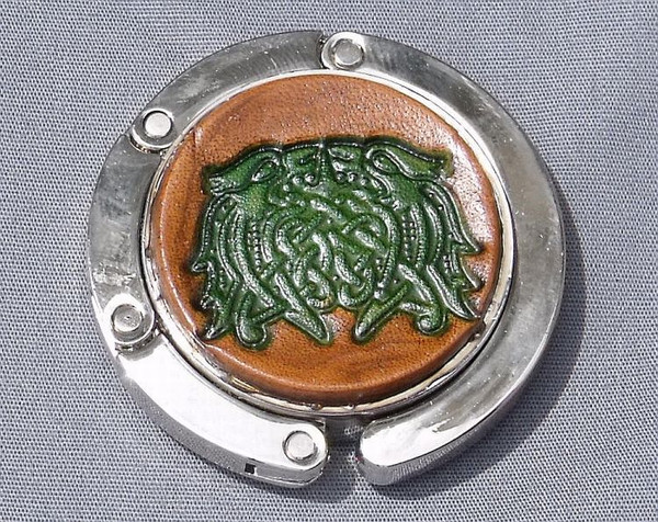 Collapsible Purse Hook - Celtic Knot 9 Green