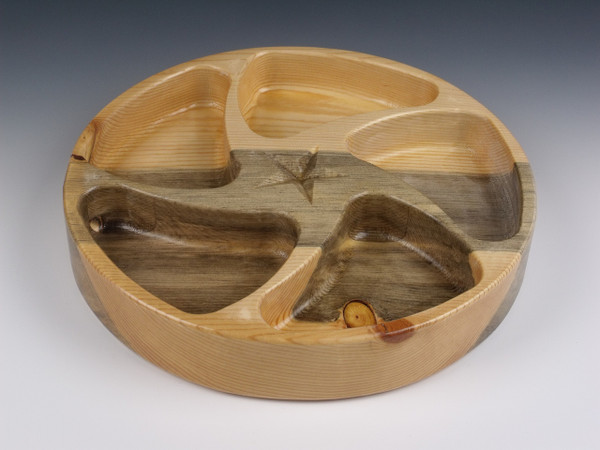 Wooden 5 Section Tray in Beetle Kill Pine