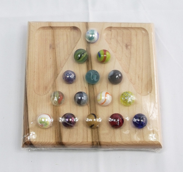 Small Marble Solitaire Game - Ambrosia/Wormy Maple