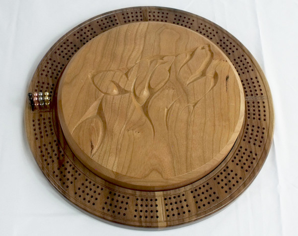 Four Player Cribbage Board Wolf Cherry and Walnut