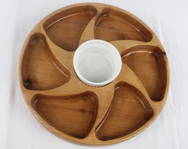 Six section lazy Susan in Alder