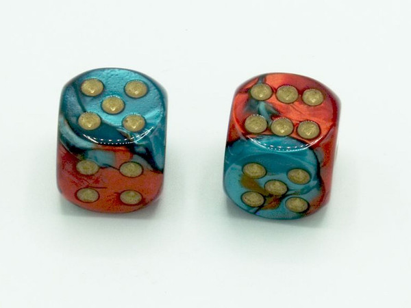 16mm d6 Gemini Red-Teal Dice with Gold pips