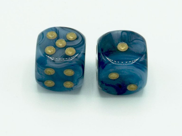 16mm d6 Phantom Teal dice with Gold pips