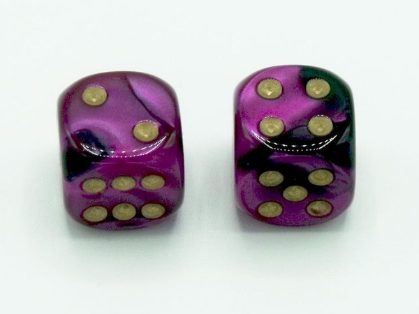 16mm d6 Gemini Black-Purple Dice