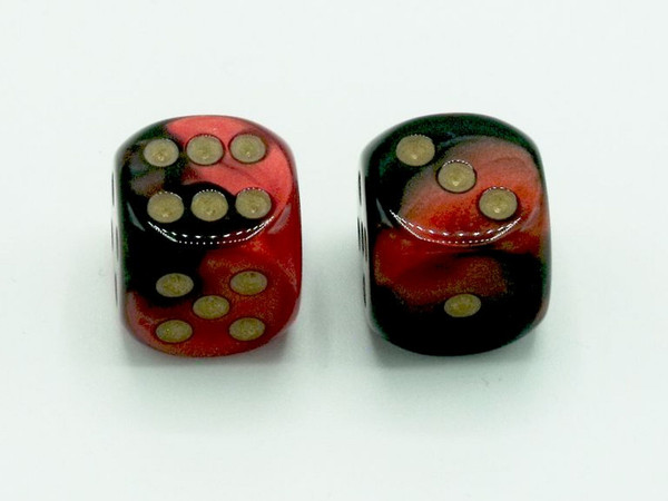 16mm d6 Gemini Black-Red dice