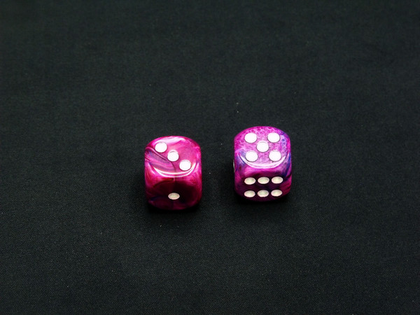 16mm d6 Festive Violet with White pips - pair of 2