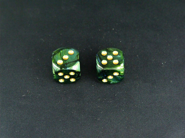 16mm d6 Scarab Jade with Gold pips - pair of 2