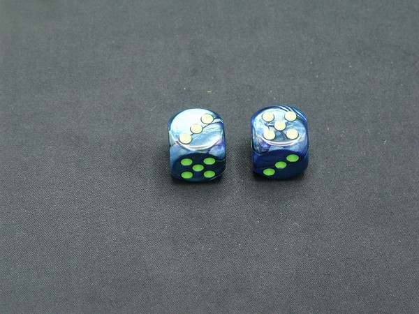 16mm d6 Lustrous Dark Blue with Green pips - pair of 2