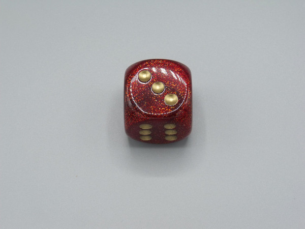 30mm Dice Glitter Ruby with Gold Pips