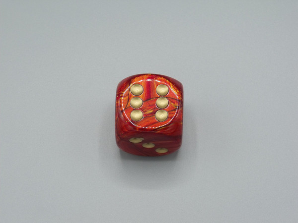 30mm Dice Scarab Scarlet with Gold Pips