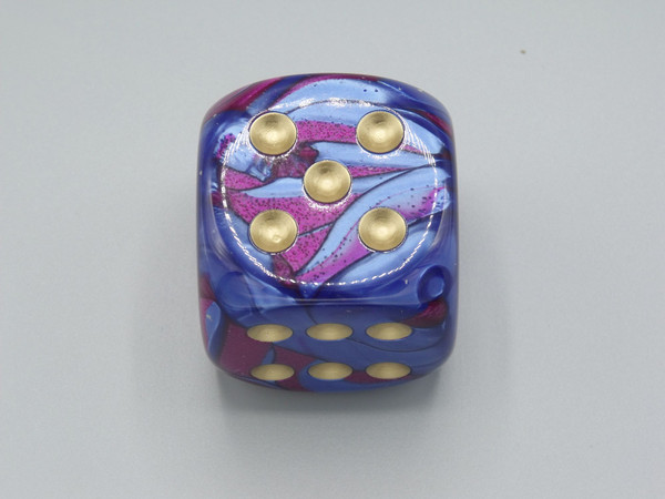 50mm Dice Gemini Blue-Purple with Gold Pips