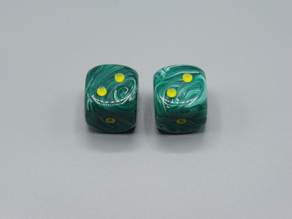 20mm Dice Vortex Malachite Green with Yellow pips d6 - pair of 2