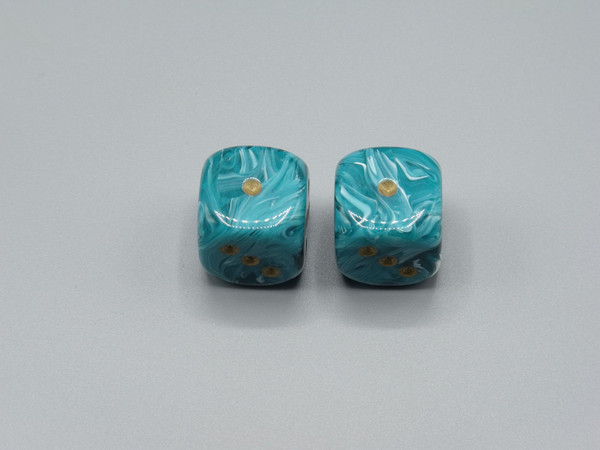 20mm Dice Vortex Teal pips d6 - pair of 2
