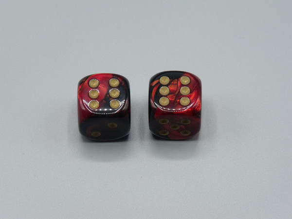 20mm Dice Gemini Black-Red with Gold pips d6 - pair of 2