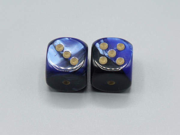 20mm Dice Gemini Black-Blue with Gold pips d6 - pair of 2