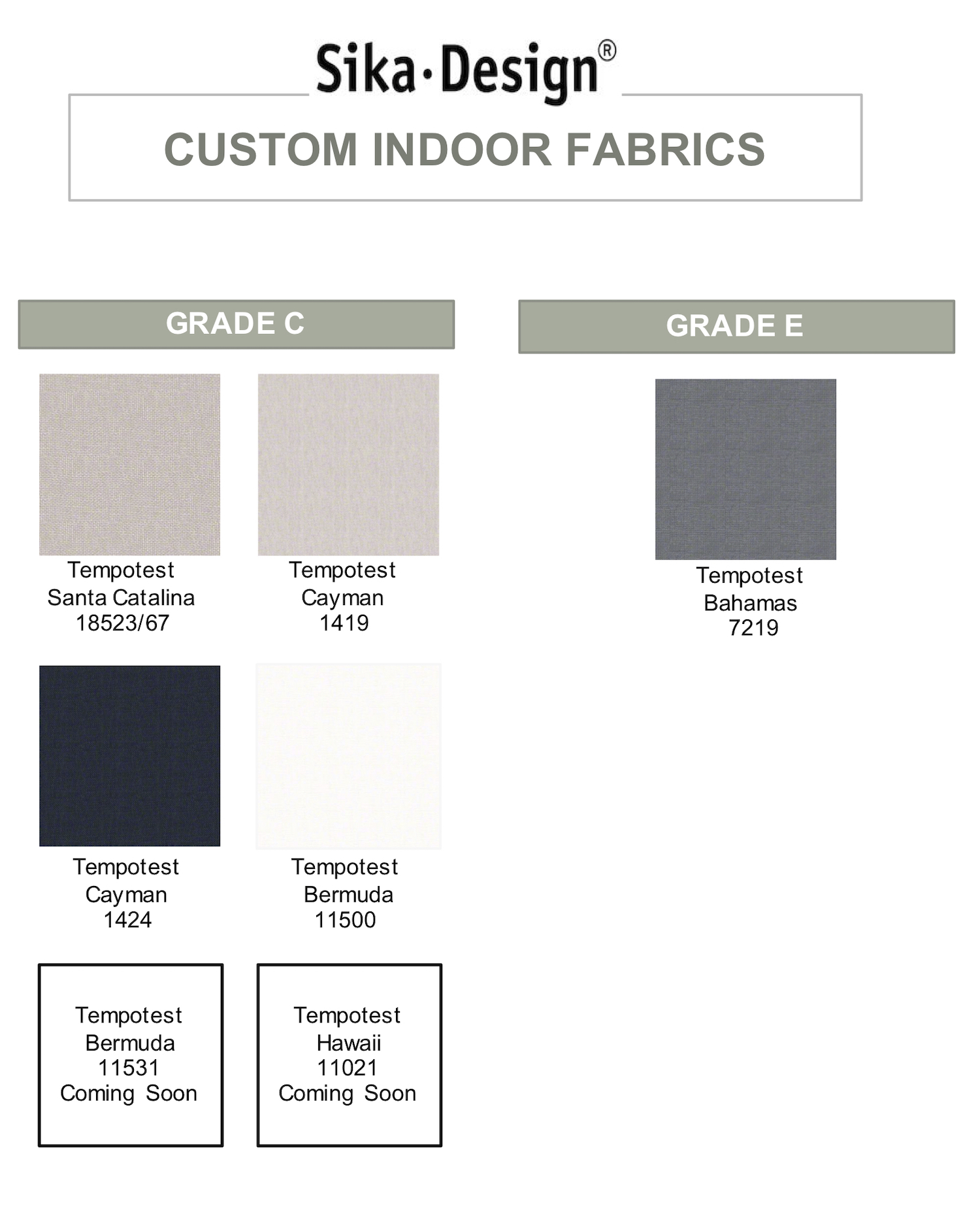 Sika Design Custom Indoor Fabrics